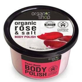 Organic Shop Body polish Rose and Salt, Scrub σώματος, Τριαντάφυλλο και Αλάτι 250ml