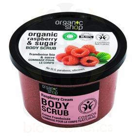 Organic Shop Body scrub Raspberry Cream, Scrub σώματος, Βατόμουρου και Ζάχαρη 250ml
