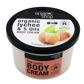 Organic shop Pink Lychee Body Cream, Βιολογικό Λίτσι & 5 Έλαια, Κρέμα σώματος 250ml