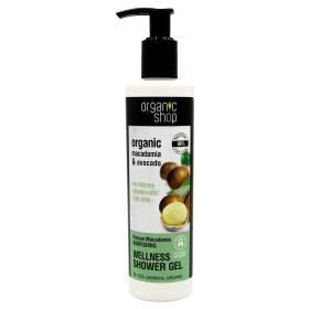 Organic shop Kenyan Macadamia macadamia & avocado shower gel, Βιολογικό Macadamia & Αβοκάντο, αφρόλουτρο ευεξίας, 280ml.