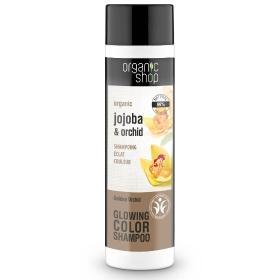 Organic shop Shampoo Golden Orchid, Βιολογικό Σαμπουάν για λαμπερό Χρώμα, jojoba και χρυσή ορχιδέα, 280ml.