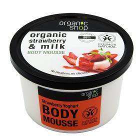 Organic shop Strawberry Yoghurt Body Mousse, Βιολογική φράουλα & γάλα, Body Mousse, 250ml.