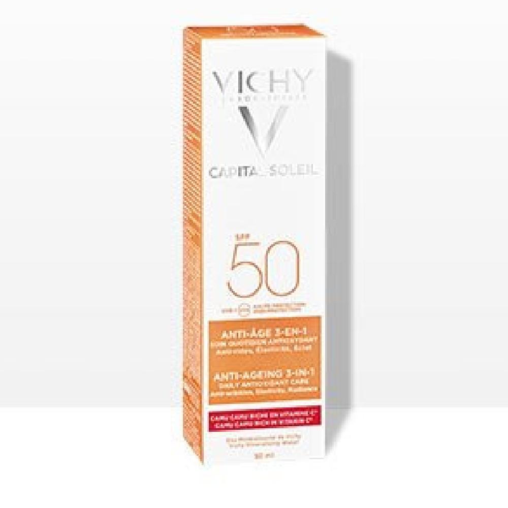 Vichy Capital Soleil Αντιηλιακή Προσώπου Κατά των ρυτίδων 3-σε-1 SPF 50+, 50ml