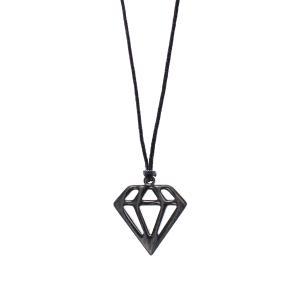 Αντρικό Χειροποίητο Κρεμαστό Ανοξείδωτο Ατσάλι με Διαμάντι σε Λεπτό Κορδόνι 03-02-002