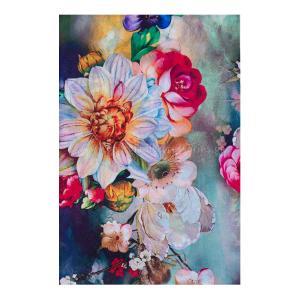 Γυναικείο Φουλάρι  Μεταξωτό Πολύχρωμο Με Λουλούδια 06-01-0002