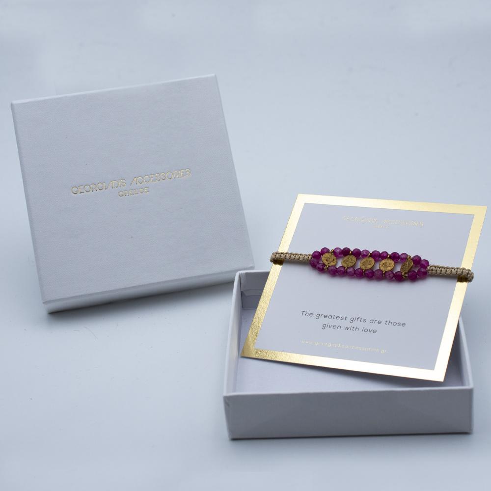 Γυναικείο Χειροποίητο Βραχιόλι Μακραμέ με Φλουριά 12-0018