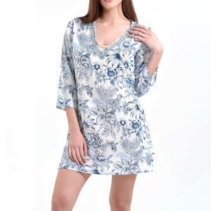 Καφτάνι Λευκό με Μπλε Λουλούδια Ble 5-41-346-0051