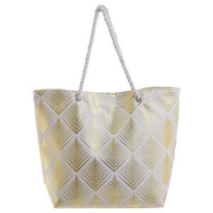 Γυναικεία Τσάντα Υφασμάτινη Λευκή/Χρυσή με Σχέδιο Ble 5-42-051-0034
