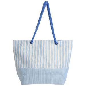 Γυναικεία Τσάντα Υφασμάτινη Λευκή Γαλάζια Ριγέ Ble 5-42-151-0110