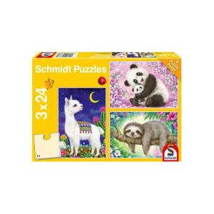 Schmidt Spiele – Puzzle 3 in 1 Panda, Lama, Sloth 56368