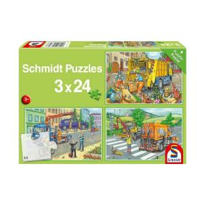 Schmidt Spiele Puzzle 3 in 1 Garbage Truck Tow Truck & Sweeper 72pcs 56357