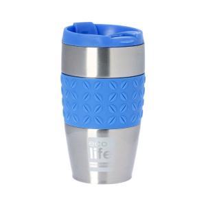 Θερμός Ανοξείδωτος Ecolife Coffee Silicon Blue 400ml 33-BO-4004