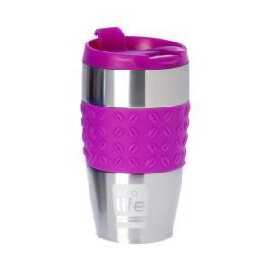 Θερμός Ανοξείδωτος Ecolife Coffee Silicon Violet 400ml 33-BO-4003