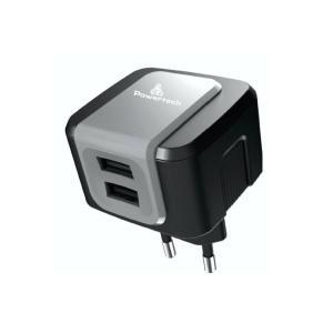 Φορτιστής Τοίχου Powertech PT-505, 2x USB, 2.4A, Black DUAL