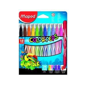 Κηρομπογίες Ψιλής Γραφής Maped Colorpeps Jungle 12τεμ