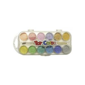 Νεροχρώματα με Πινέλο Toycolor 12 Περλέ Χρώματα