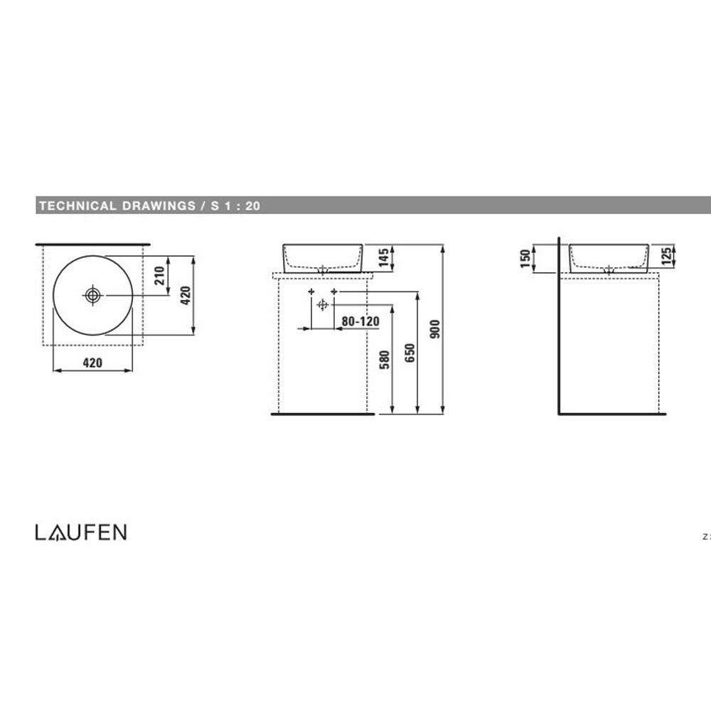 Νιπτήρας επιτραπέζιος στρογγυλός Ø42 Savoy Laufen