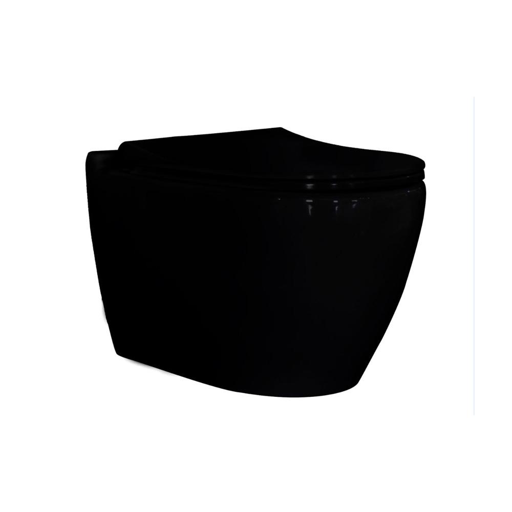 Λεκάνη μαύρη κρεμαστή υψηλής πιέσεως Uno Rimless Guralvit
