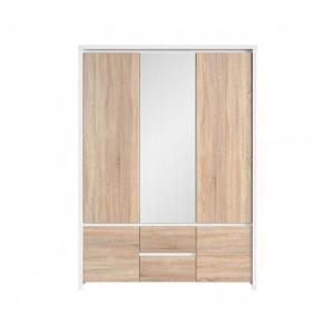 Ντουλάπα Kaspian τρίφυλλη White/Sonoma 153,5x55,5x211h Brw - 23923
