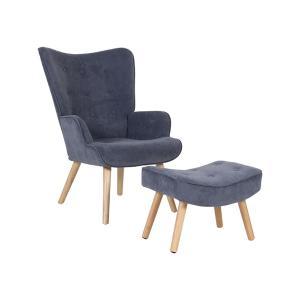 Πολυθρόνα - σκαμπώ ύφασμα velure K/D Alma Set - 25426