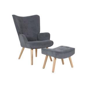 Πολυθρόνα - σκαμπώ ύφασμα velure K/D Alma Set - 25427
