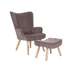 Πολυθρόνα - σκαμπώ ύφασμα velure K/D Alma Set - 25428