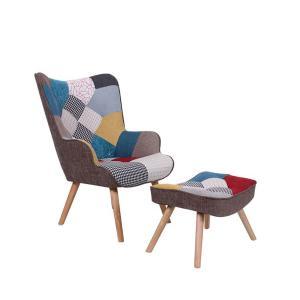 Πολυθρόνα - σκαμπώ ύφασμα patchwork-2 Maron Set - 24771