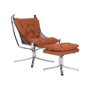 Πολυθρόνα-σκαμπώ ύφασμα nabuk ταμπα K/D Santana Set - 24772