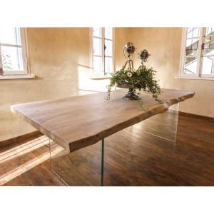 Τραπέζι Alien 260x100x76h μασίφ-γυάλινα πόδια - 23485