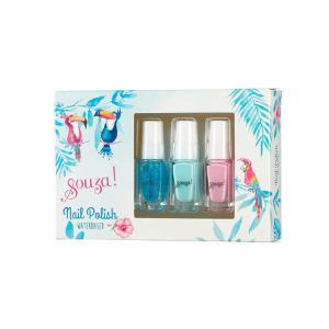 Souza Nail Polish (3 Μανο Σε 1 Κουτι / Μπλε glitter-γαλαζιο-ροζ) 105603
