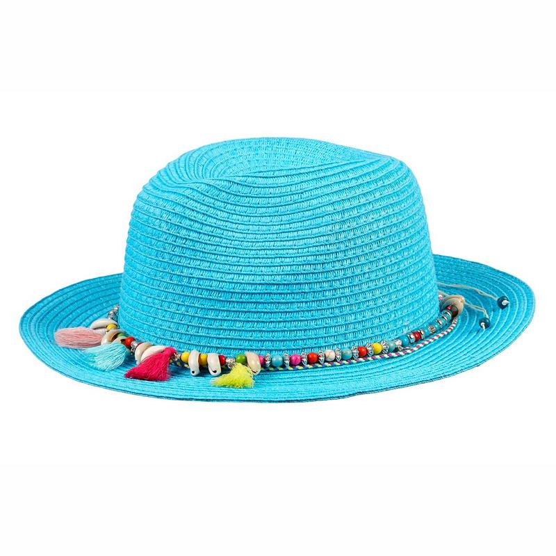 Souza Ψάθινο Καπέλο Eve Γαλάζιο με κρόσια & χάντρες 105832