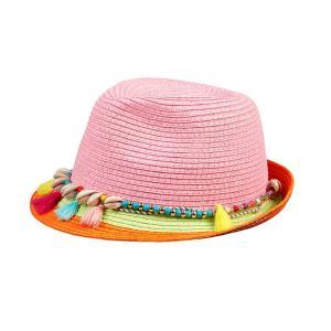 Souza Ψάθινο Καπέλο Cis ροζ με κρόσια & χάντρες 105836