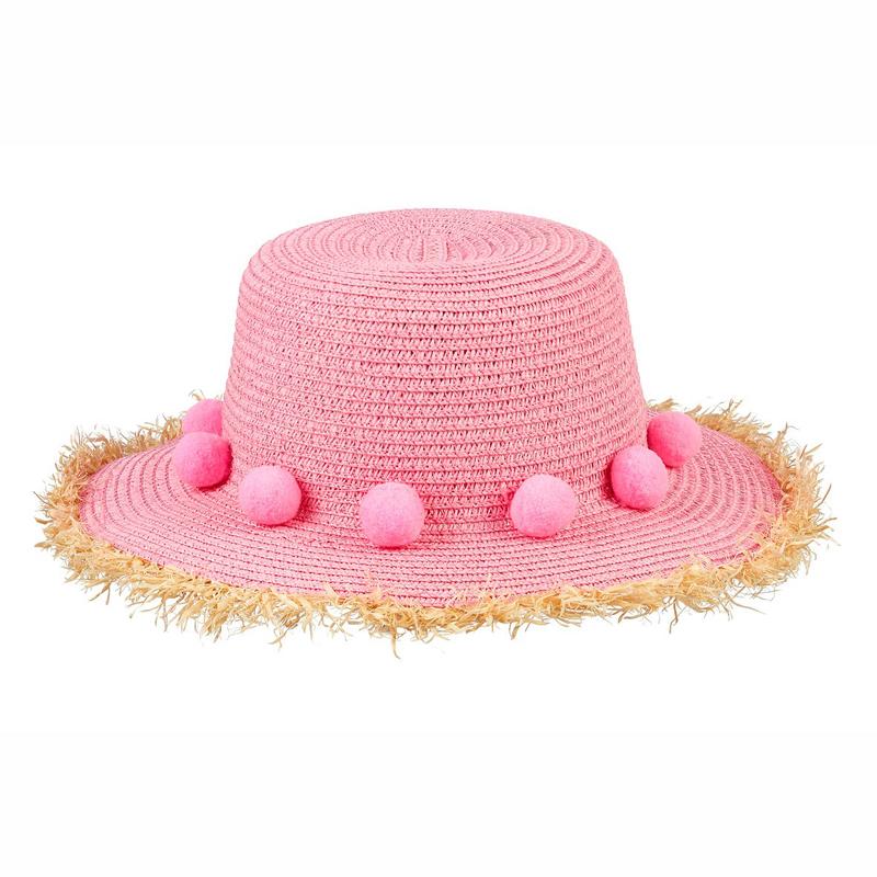 Souza Ψάθινο Καπέλο Fiene ροζ με pompoms 105841