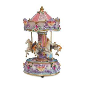 Spieluhrenwelt Carousel με άλογα μοβ καρδιά 23cm