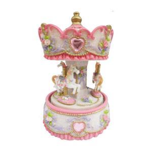 14231 Spieluhrenwelt Ροζ Carousel με άλογα 17cm