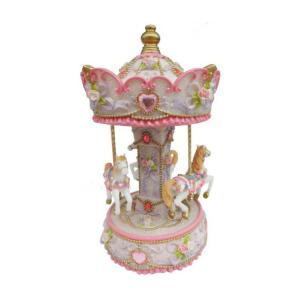 14233 Spieluhrenwelt Ροζ Carousel με άλογα 23cm