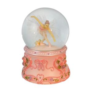 Spieluhrenwelt Χιονόμπαλα με μπαλαρίνα με ροζ βάση