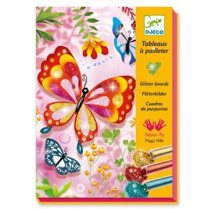 Djeco Δημιουργώ με Γκλίτερ 4 Εικόνες 'Λαμπερές Πεταλούδες' (176-09503)