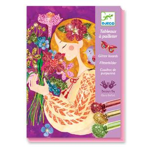 Djeco Δημιουργώ με Γκλίτερ 4 εικόνες 'Κορίτσι με Λουλούδια' (176-09508)