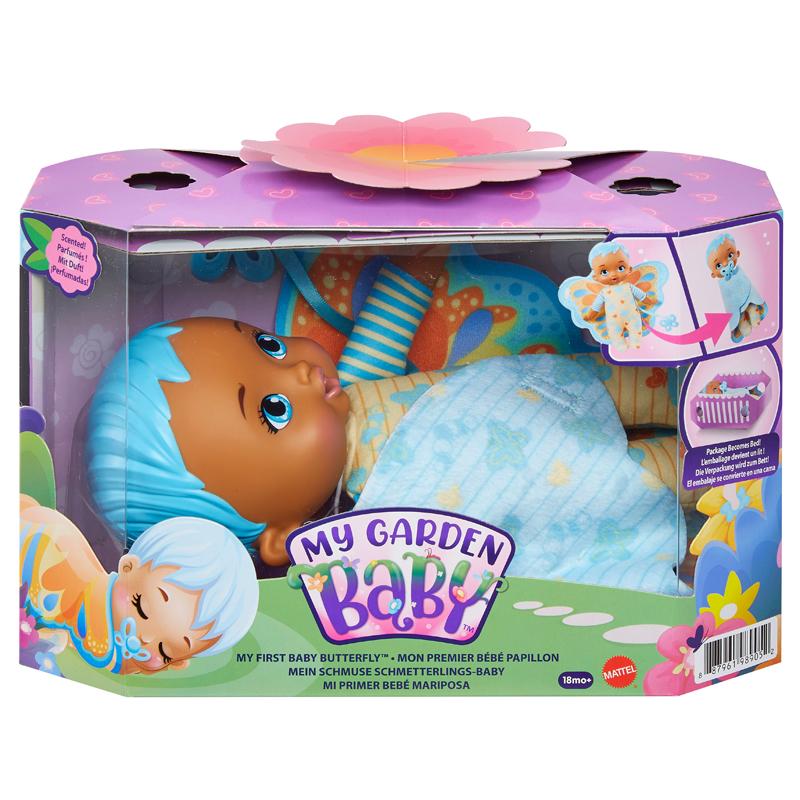 Mattel My Garden Baby Butterfly- Το Πρώτο μου Μωράκι 23cm- Μπλε Μαλλιά (HBH38)