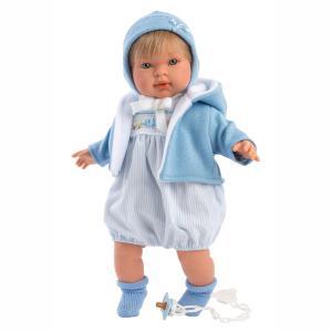 Llorens Μωρό Miguel με Σκουφάκι και Γαλάζια Ρούχα 42εκ.( LIO-42153)