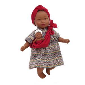 Nines D'Onil Κούκλα Maria Με Μωρό σε Κόκκινο Μάρσιπο (NDO-6312)