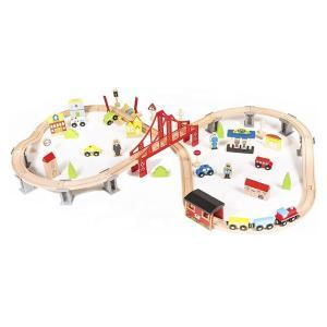 Eva Toys Ξύλινο Τρένο με Γραμμές 70τμχ. (W04C073)