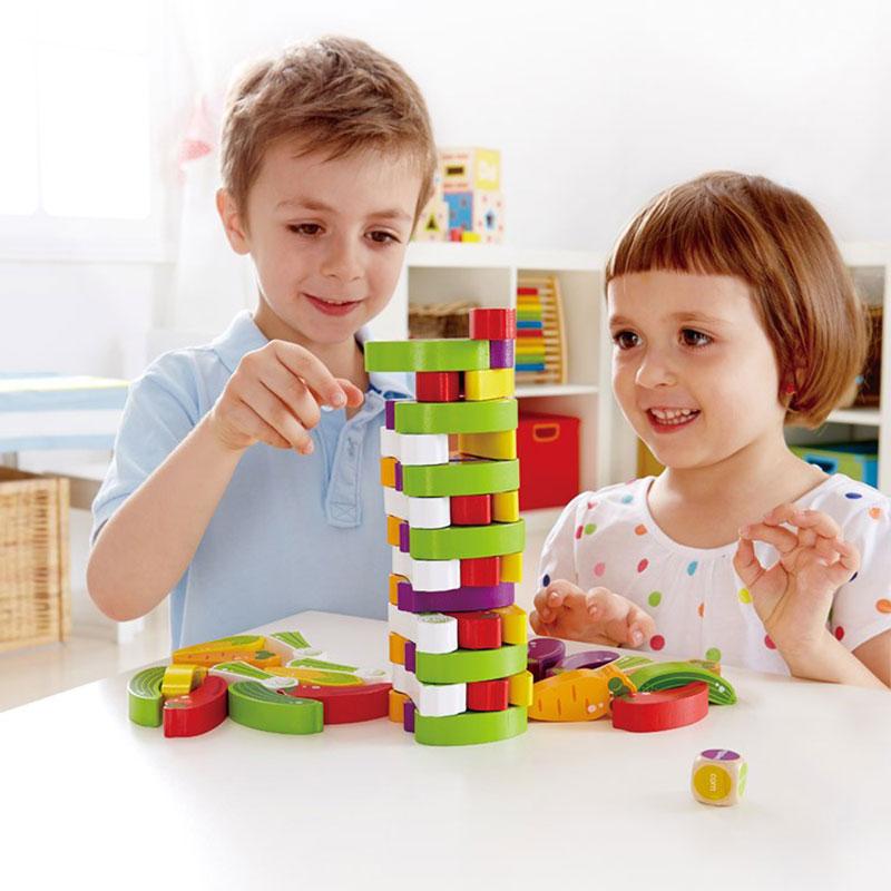 Eva Toys Ξύλινος Πύργος ισορροπίας με 55 τμχ Τουβλάκια Λαχανικά (W13D078)