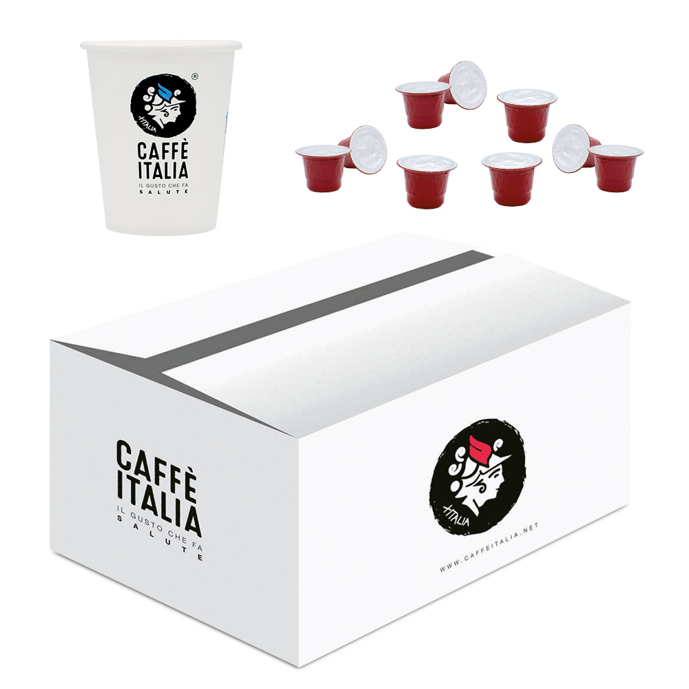 KIT CAFFE ITALIA CARUSO 100ΤΕΜ + ΔΩΡΟ 50 ΠΟΤΗΡΙΑ CAFFE ITALIA