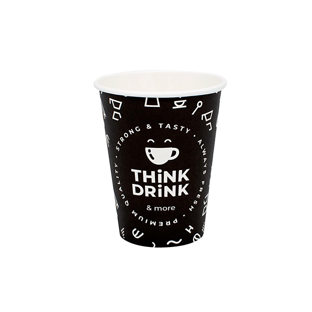 ΠΟΤΗΡΙ ΧΑΡΤΙΝΟ 14oz ''THINK DRINK'' ΜΑΥΡΟ 50ΤΕΜ ΜΟΝΟΤΟΙΧΟ